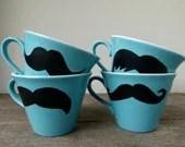 SUMMER SALE - Mustache Mugs, Set of Four Mugs, Turquoise Mugs, Housewarming Gift, Groomsmen Gift - frankieandcocopdx