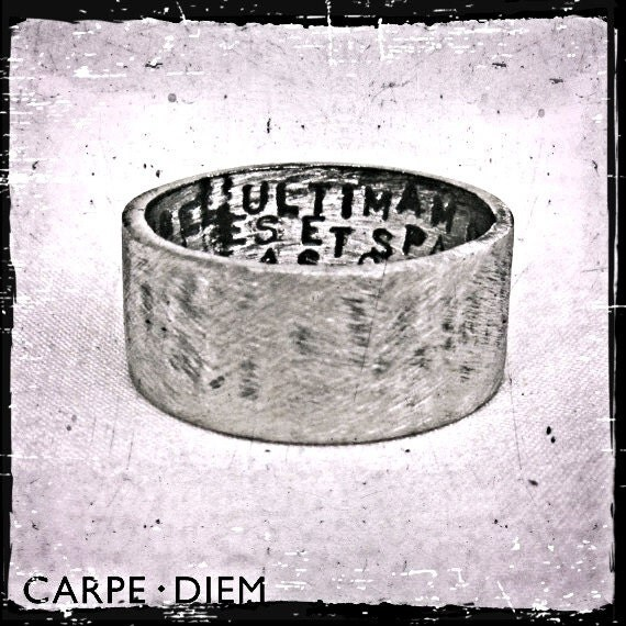 Mens Silver Ring Hand Stamped Oxidized by carpediemjewellery