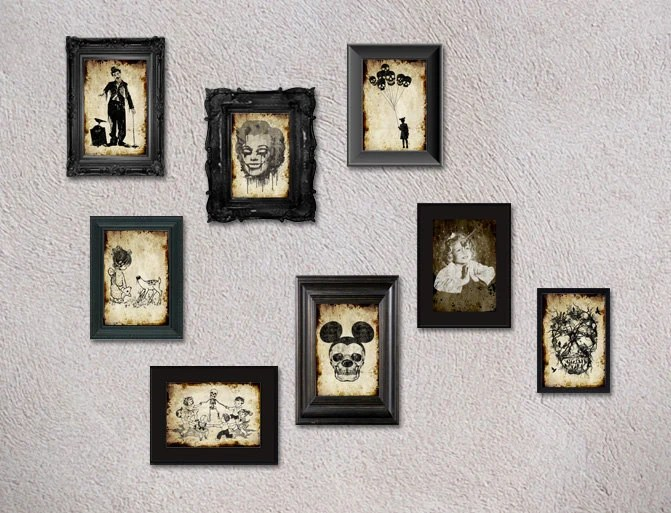8 postcards at your choice digital postcard gothic gift unique original frame skull funny art - TotalLost
