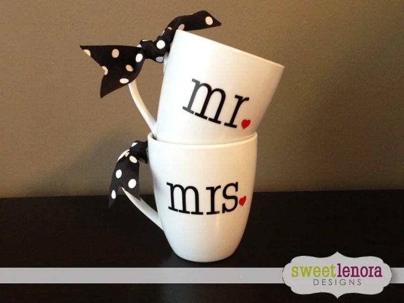 Mr And Mrs Coffee Cup Mug Wedding Gift Set