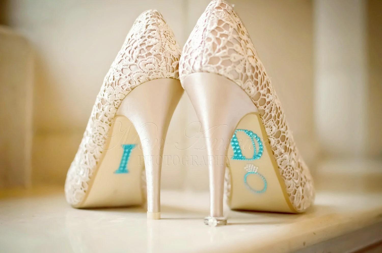 Blue Rhinestone Wedding Shoes