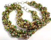 Earthy Forest Green and Brown Spiral Beaded Necklace - MegansBeadedDesigns