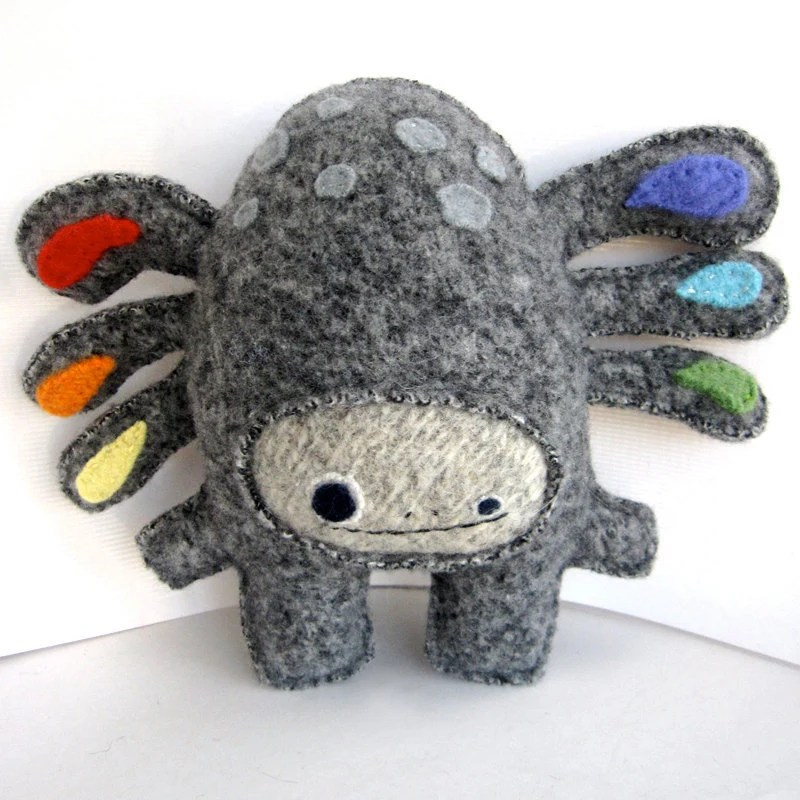 Gray and Rainbow Strange Foo - Recycled Wool Plush Toy