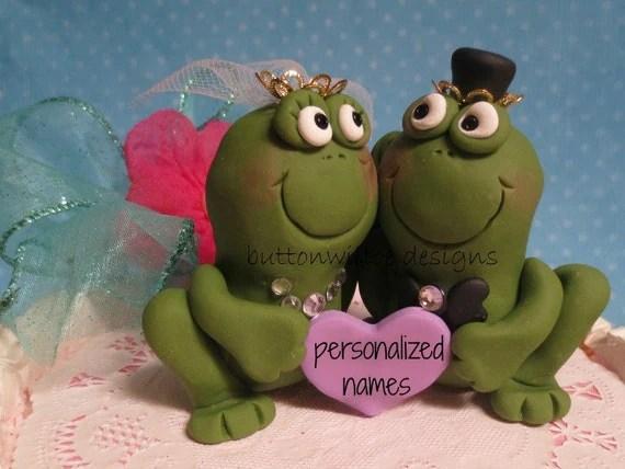 Frog Prince And His Princess Bride Funny Wedding Cake Topper