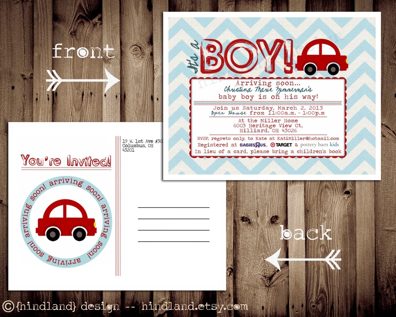 Postcard Baby Shower Invitations