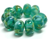 teal jewels.... SRA handmade, set of  lampwork beads in teal, aqua, and green great for making jewelry 53113-3 - kreationsbykarenk