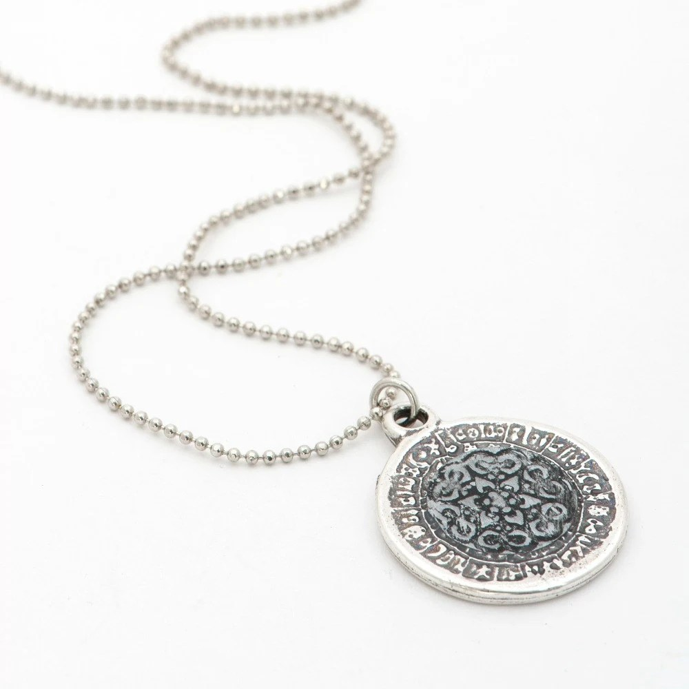 Long Coin Necklace, Star of David Pendant, Ancient style Filigree Necklace, Jewish Jewelry, Lace Pendant - efratim