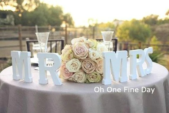 WOODEN MR & MRS Letters Wedding Sweetheart Table Signage