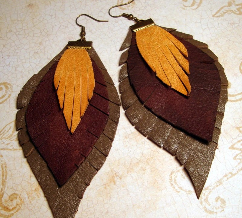Autumn-Leather Earrings - GirlCandyDesigns