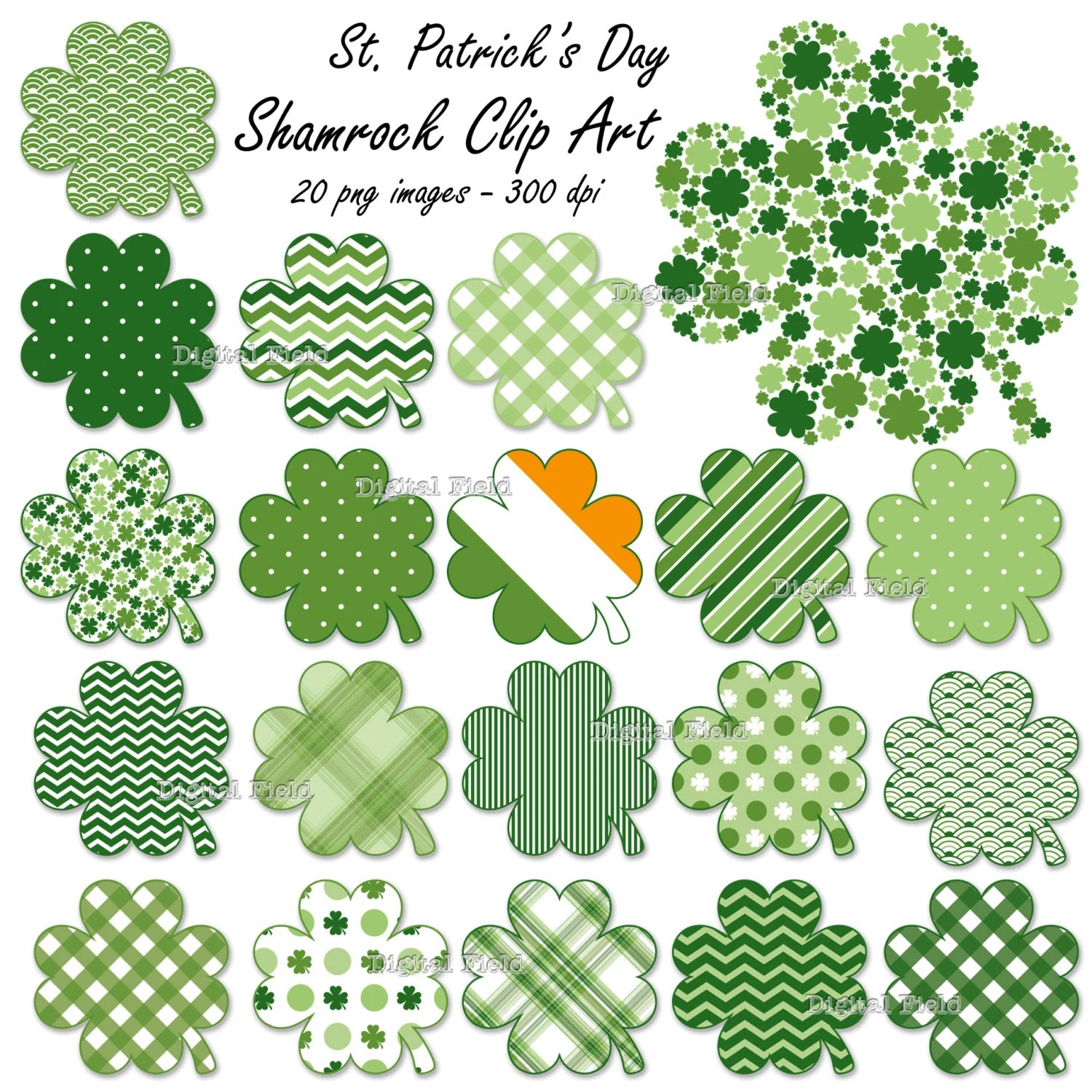 St Patrick S Day Shamrock Clip Art Set 20 Patterned