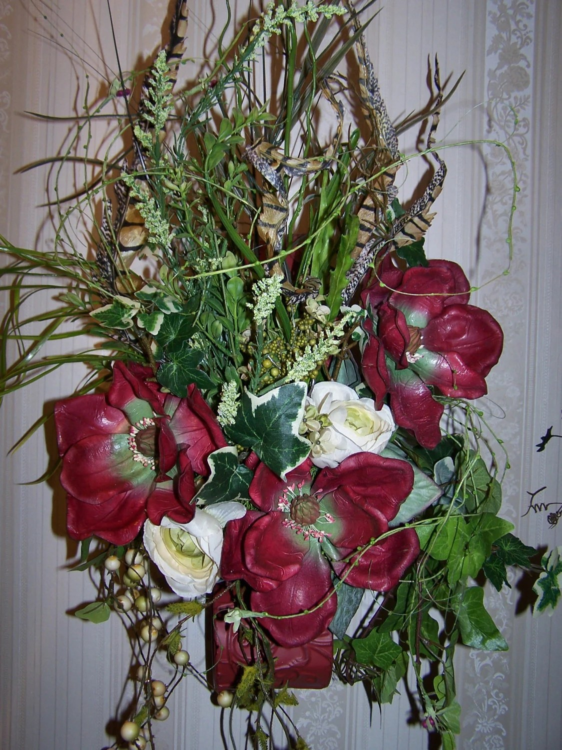 Items similar to WALL FLORAL SCONCE Arrangement, Table ... on Wall Sconce Floral Arrangements Arrangement id=87076