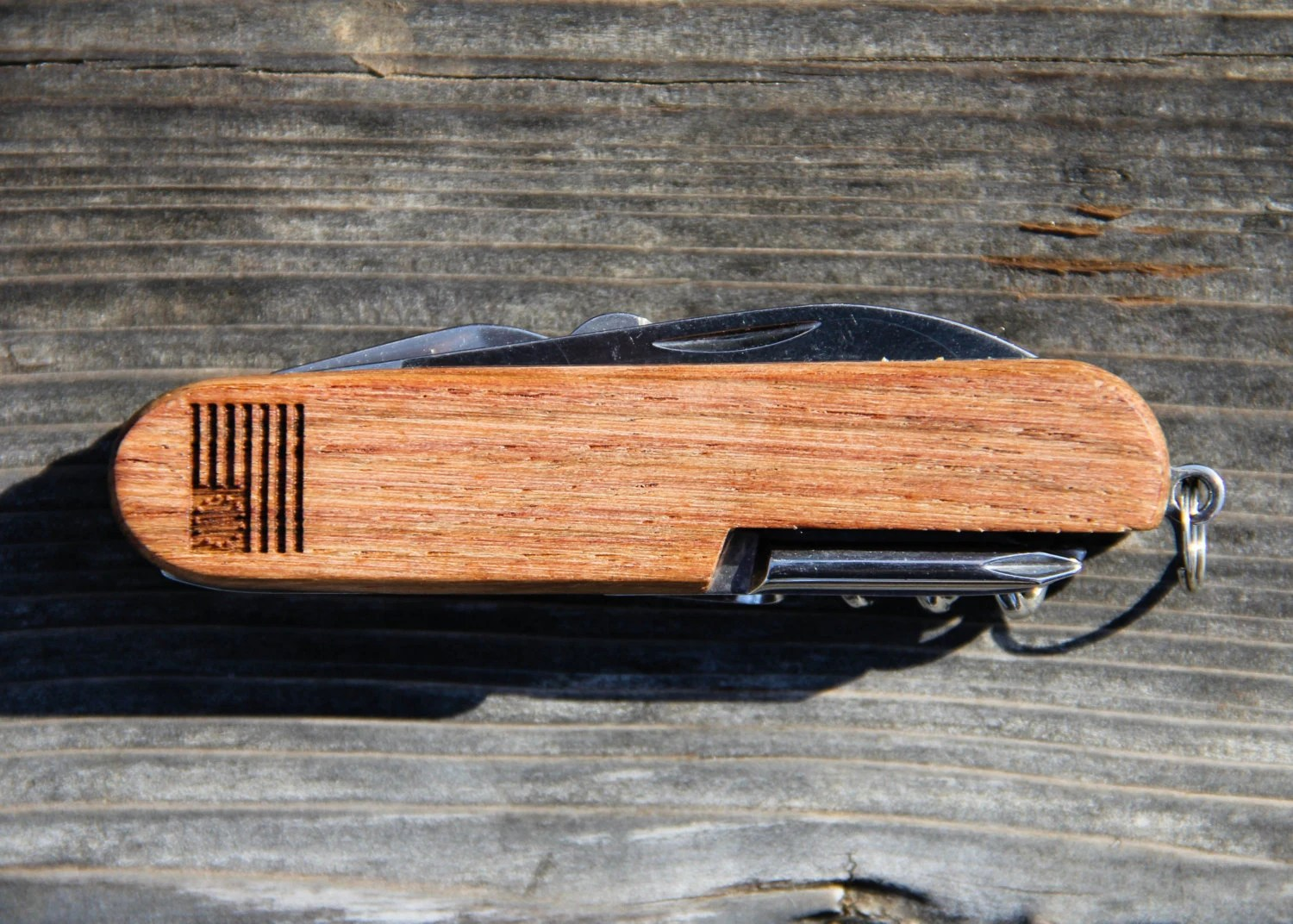 Personalized Wood American Army Knife