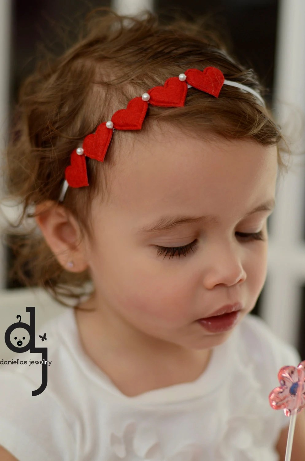 Toddler Valentines Day HeadbandRed And White By