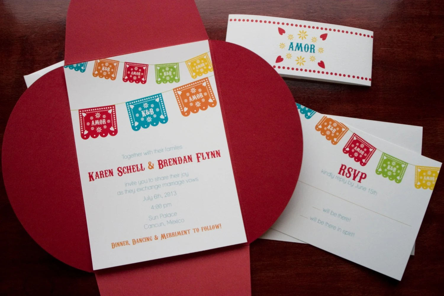 Mexican Paper Flag Wedding Invitation Sample Guadalupe