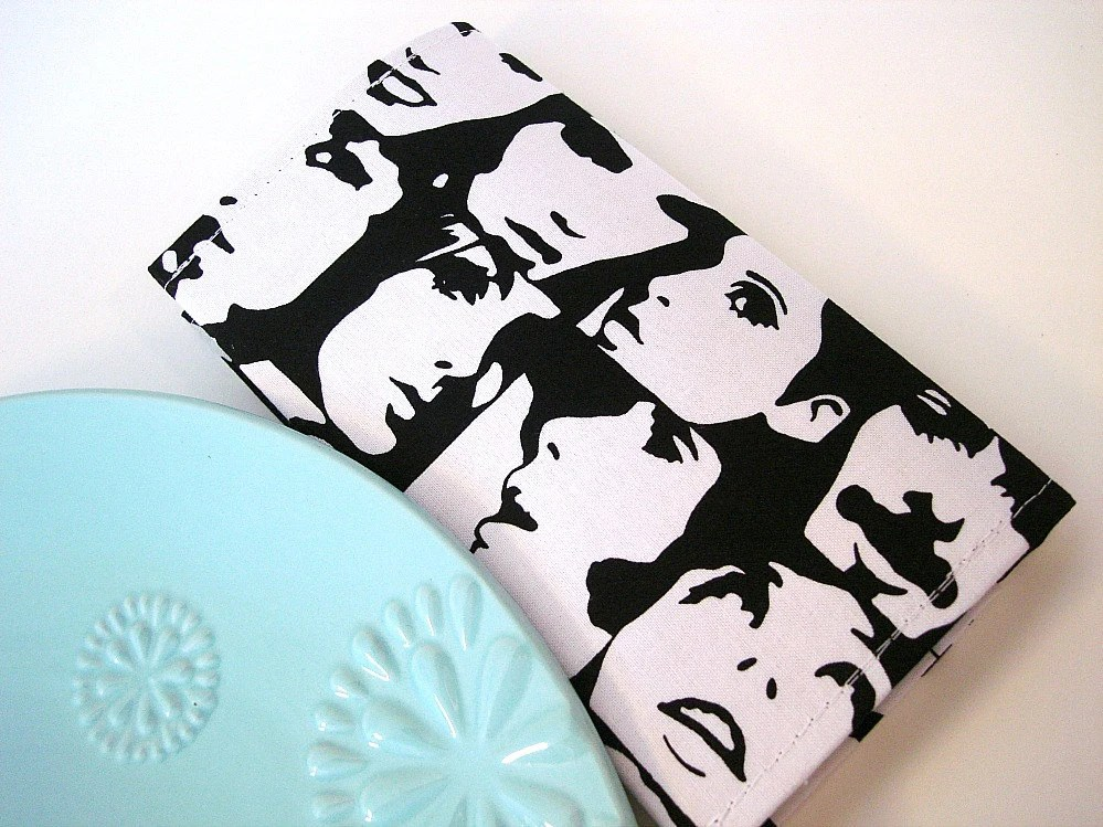 Faces Black and White Checkbook Cover - dishhandbags