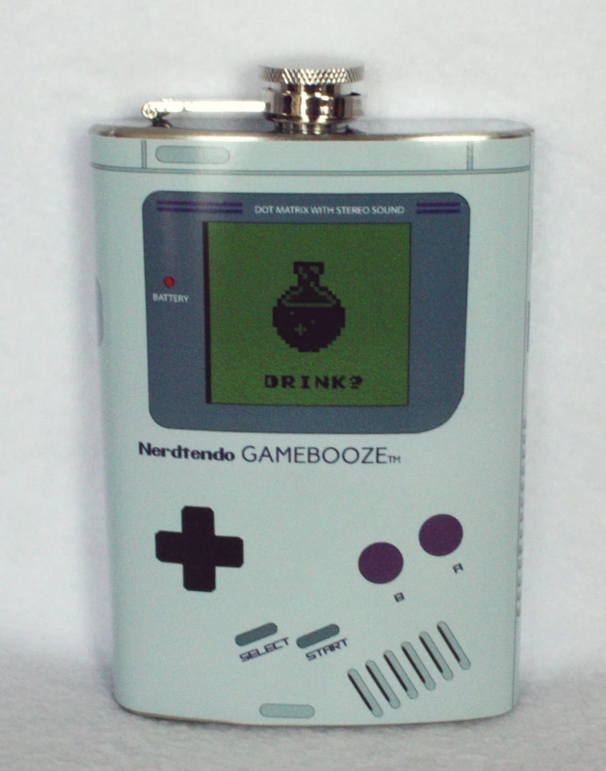 Nerdtendo Gamebooze  nintendo gameboy inspired flask 8oz pre order