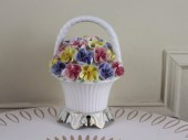 Basket Full of Pansies - vintage Ceramic Night Light - Cottage Chic - pink, purple, and yellow Flowers - cammoo