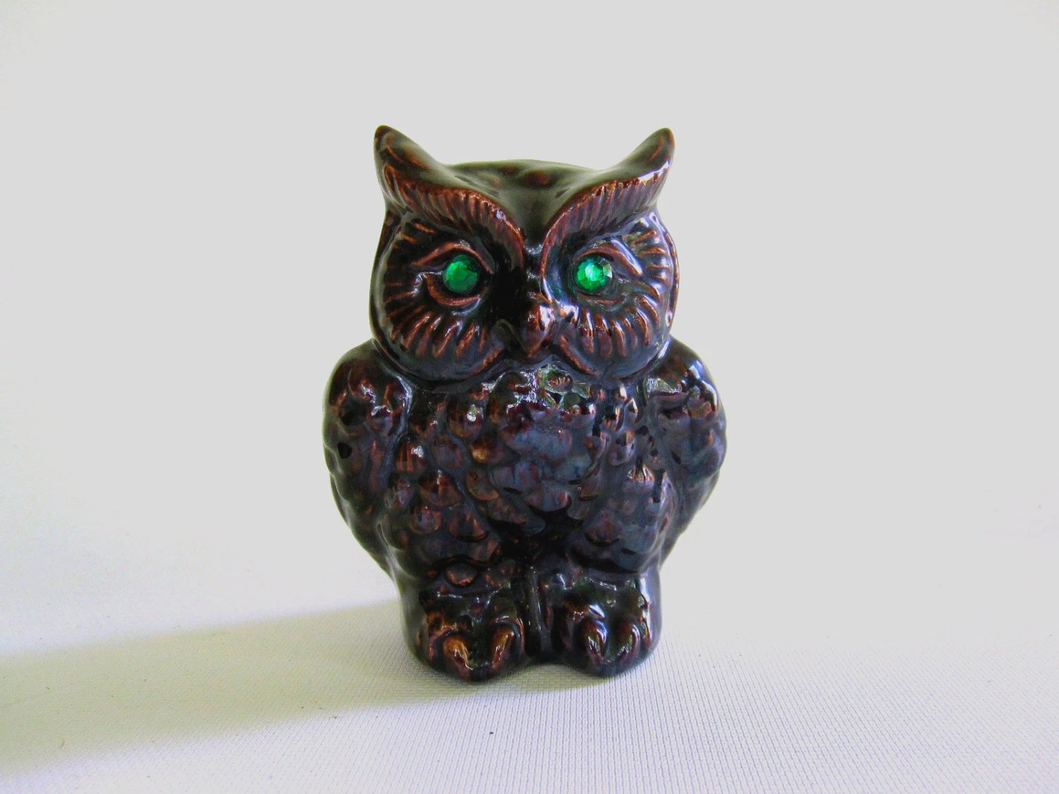 Halloween Owl Black with Green Eyes - Ceramic Owl Statue - LoveButlerVintage