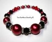 Red And Black Bracelet - Stretch Bracelet - Beaded Bracelet - Glass Pearl Bracelet - Rhinestone Beads - Gift For Her - TwoFeathersJewelry