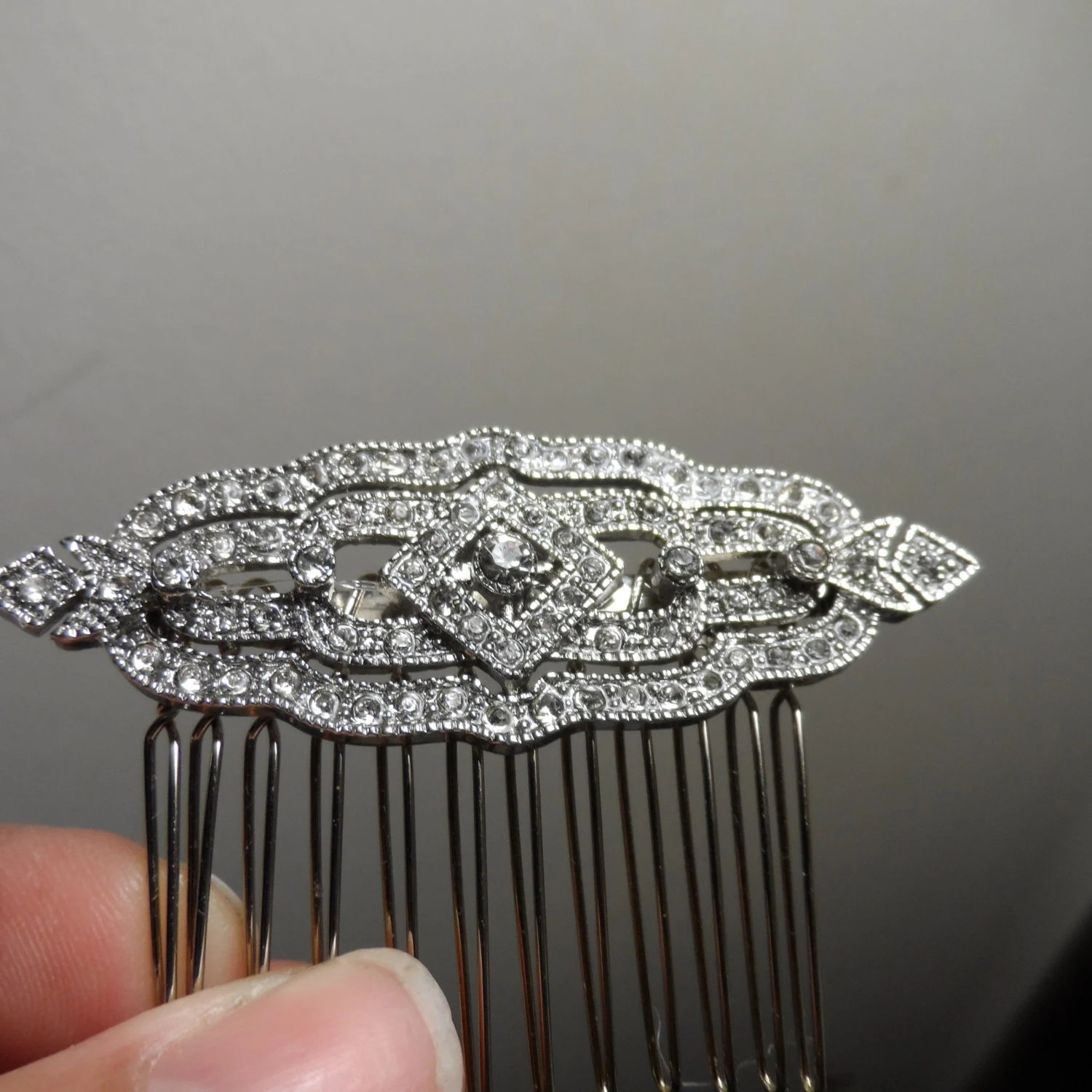Silver Art Deco Hair Comb Wedding Hair Comb Vintage Hair Comb