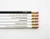 Coco Chanel Pencils- The 'Girls with Gumption' Collection, White, Black, & Gold, Set of 6 - AmandaCatherineDes