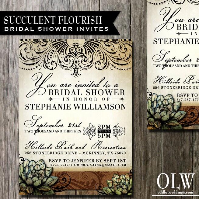 Vintage Floral Bridal Shower Invitations