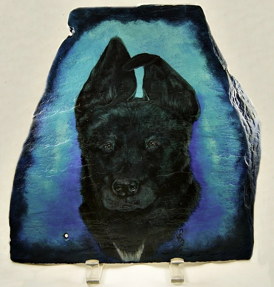 Custom Pet Painting in Acrylics on Irregular Slate, Part of Sales Proceeds Supports Animal Charity - PaintYourPoochand
