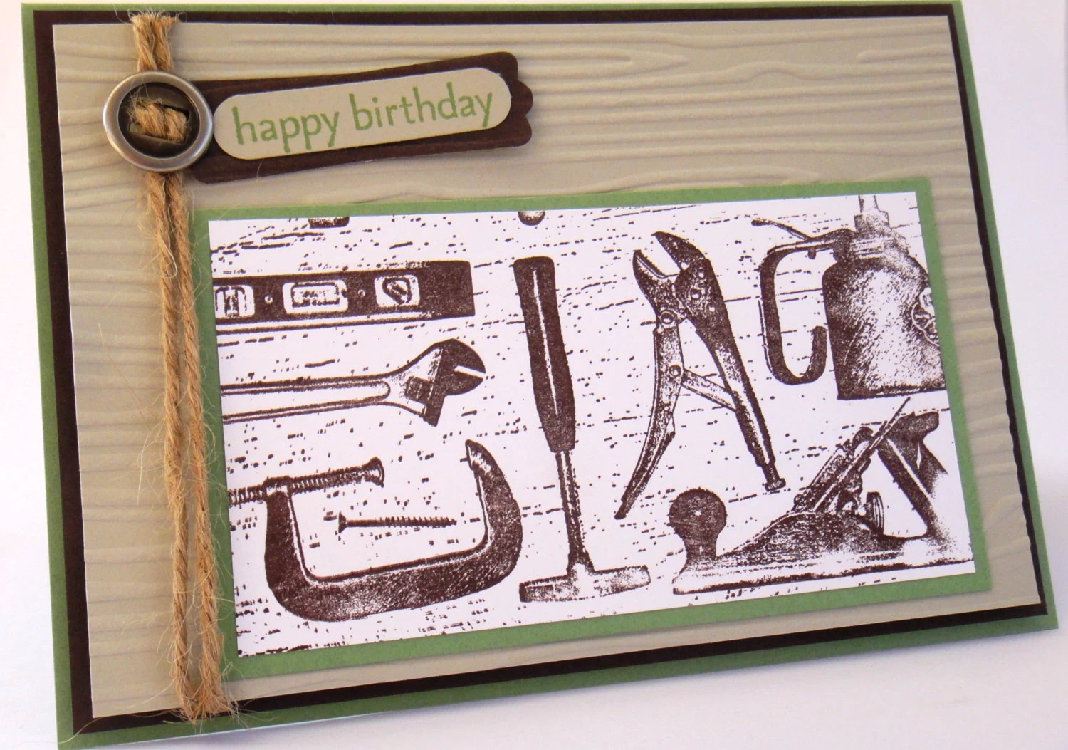 handmade happy birthday card for boyfriend husband male diy handyman carpentry tools and embossed wood grain