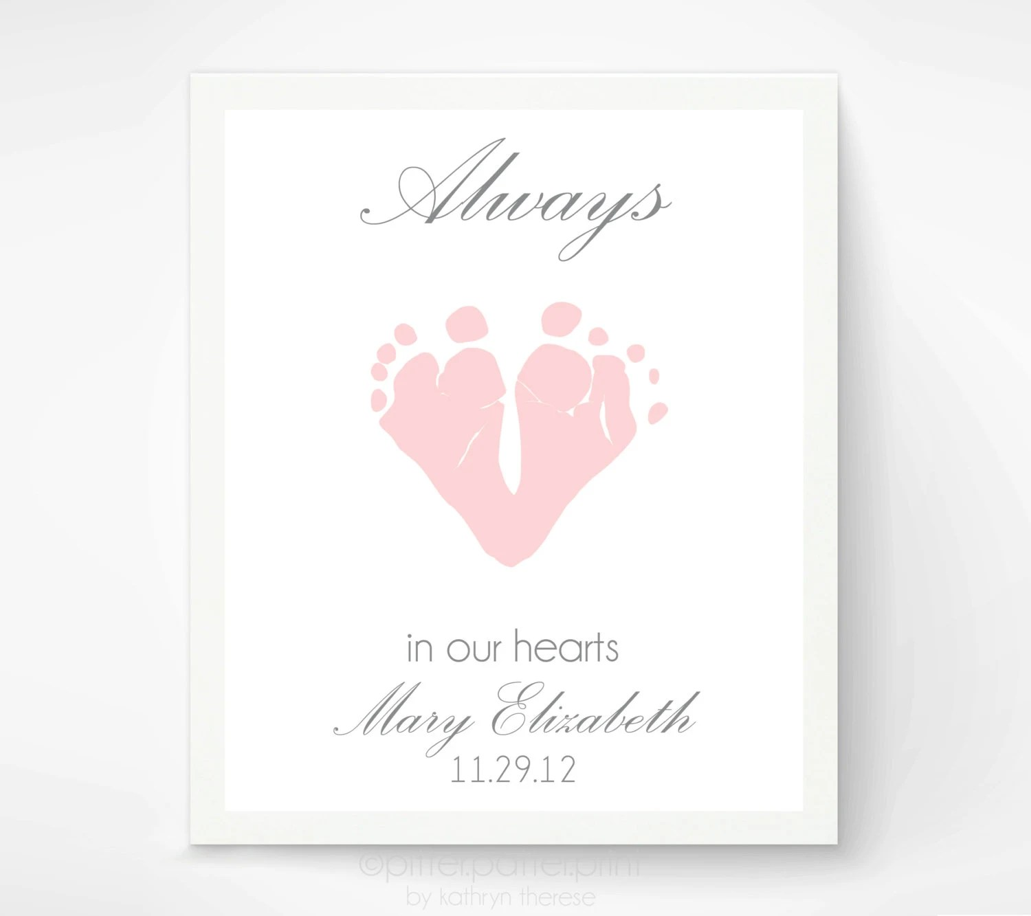 Baby Memorial Art Print, Baby Footprint Art - Loss of Baby Infant Sympathy Gift Plaque - Always in our Hearts
