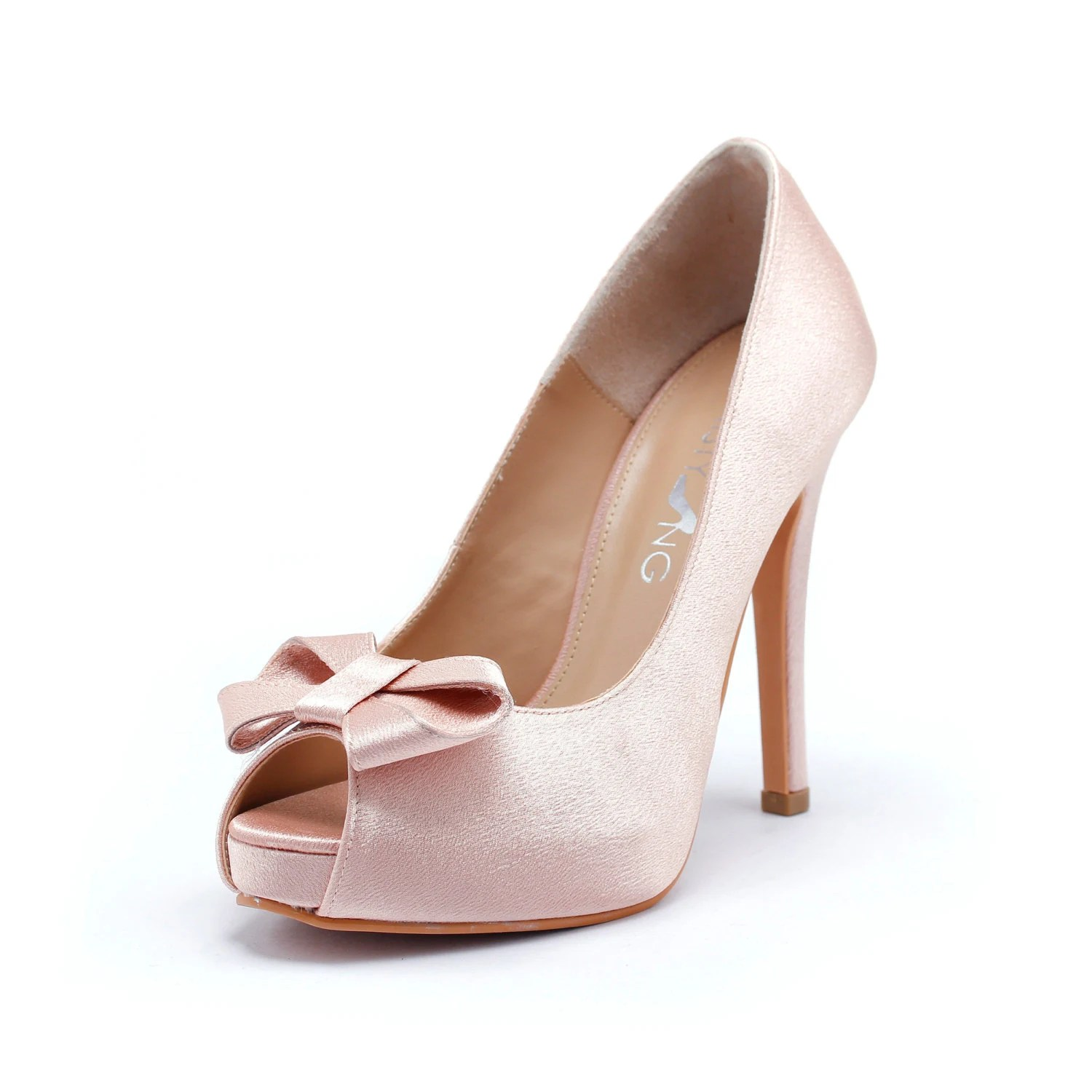 Sweetheart Wedding Shoes in Blush Silk Satin, Valentine Day's Shoes, Nude Blush Bridal Shoes, Light Pink Wedding Heels - ChristyNgShoes