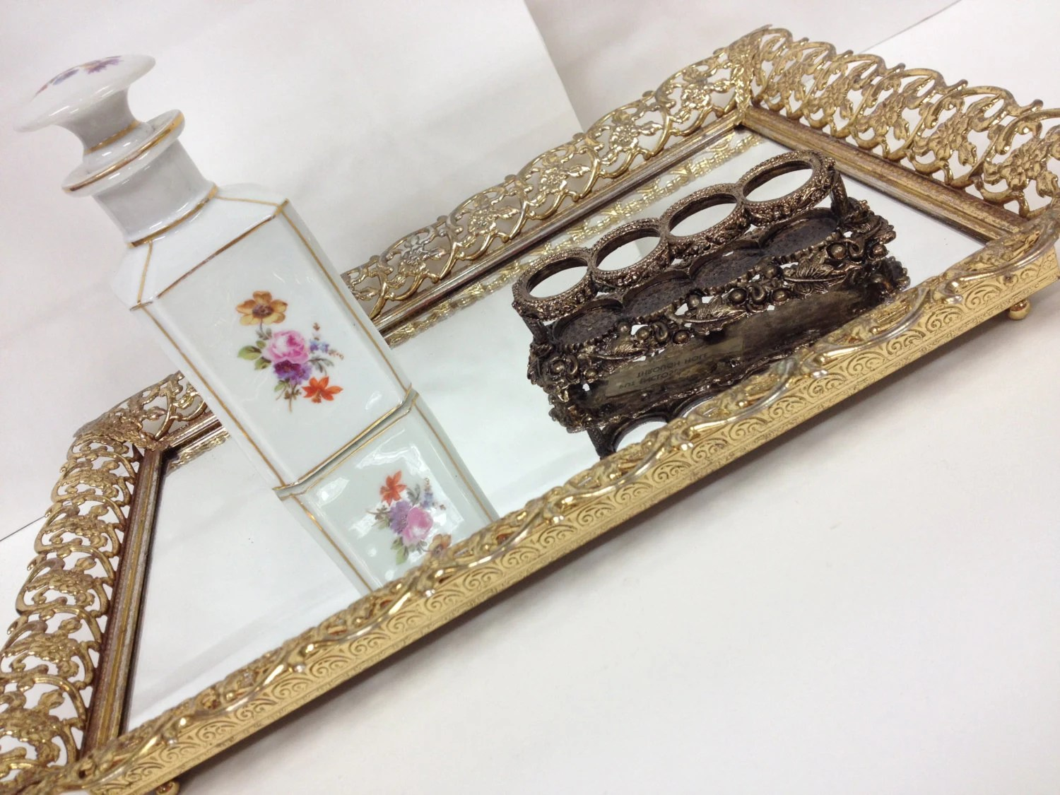 Gold Filigree Vanity Mirrored Tray Rectangle By