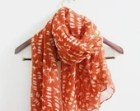 Orange Red Bird Scarf Orange Scarf with Beige Bird Cute Birdy Pattern on Orange Red Scarf Soft Fall Scarf Christimas Gift