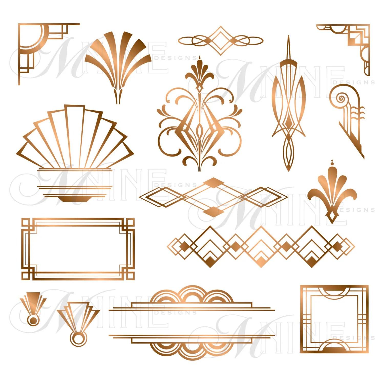 Bronze Art Deco Accents Clipart Design Elements By