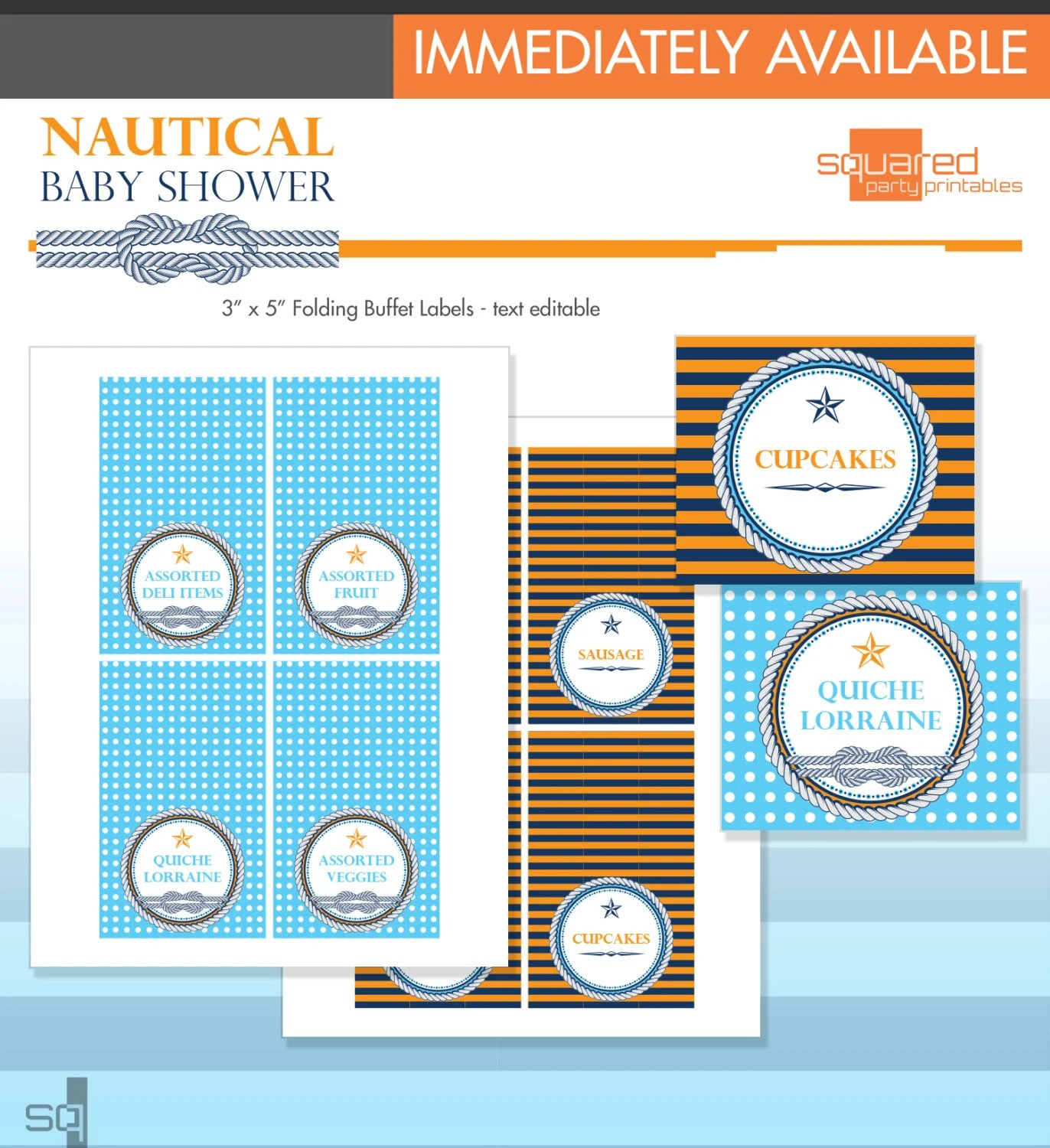 Nautical Baby Shower Blank Food Labels Baby Whales Diy