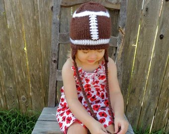 Baby Football Hat, Football Beanie, Football Hat, Baby Football Beanie, Customizable Team Colors Baby Knitted Football Hat with Ear Flaps