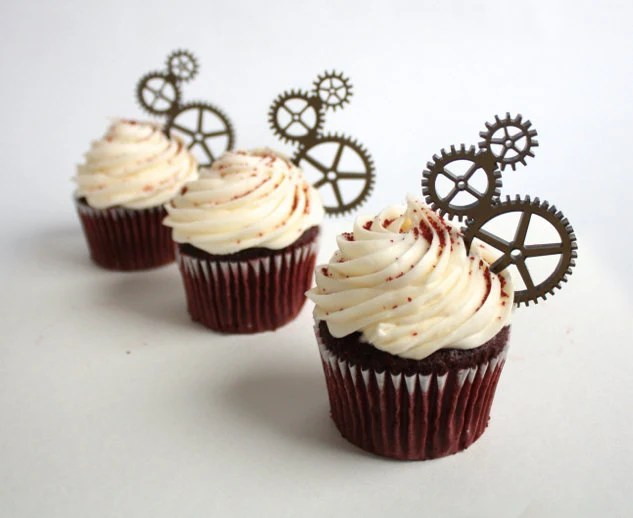 12 Steampunk Gear Cupcake Toppers Acrylic