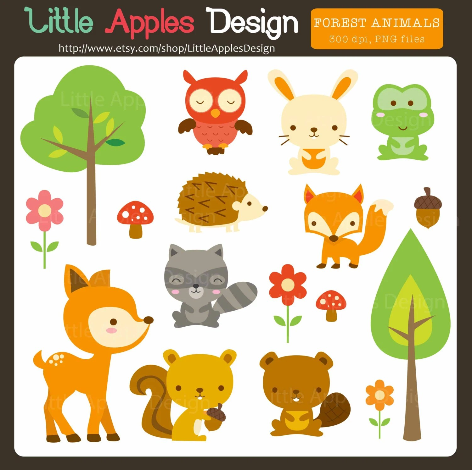 Woodland Animal Clip Art Woodland Animal Clipart Forest