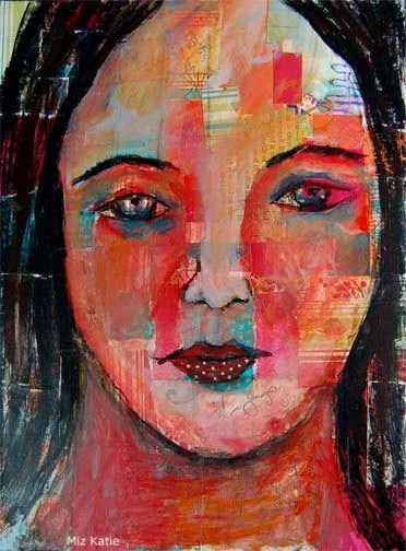 Acrylic Portrait Painting Collage 9x12 Canvas, Original, Colorful, Mixed Media, Girl, Black Hair