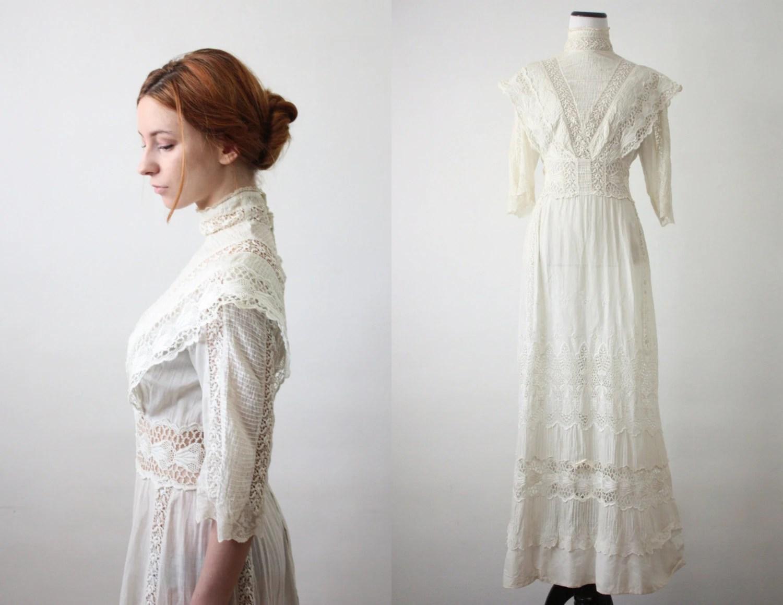 Antique Dress 1910's Lace Wedding Dress