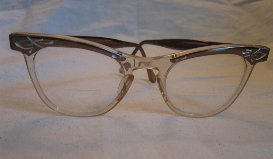 Vintage 1950s Cats Eye Glasses Roackabilly Frames Bronze ...