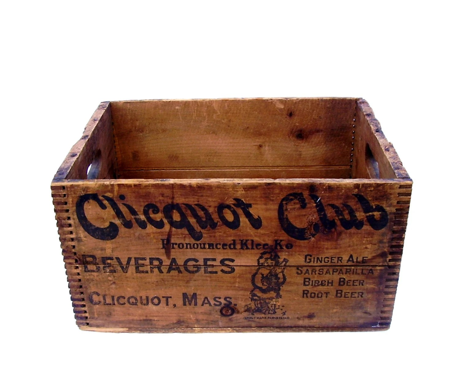 Antique Wood Soda Crate Clicquot Club Dovetail Wooden Box