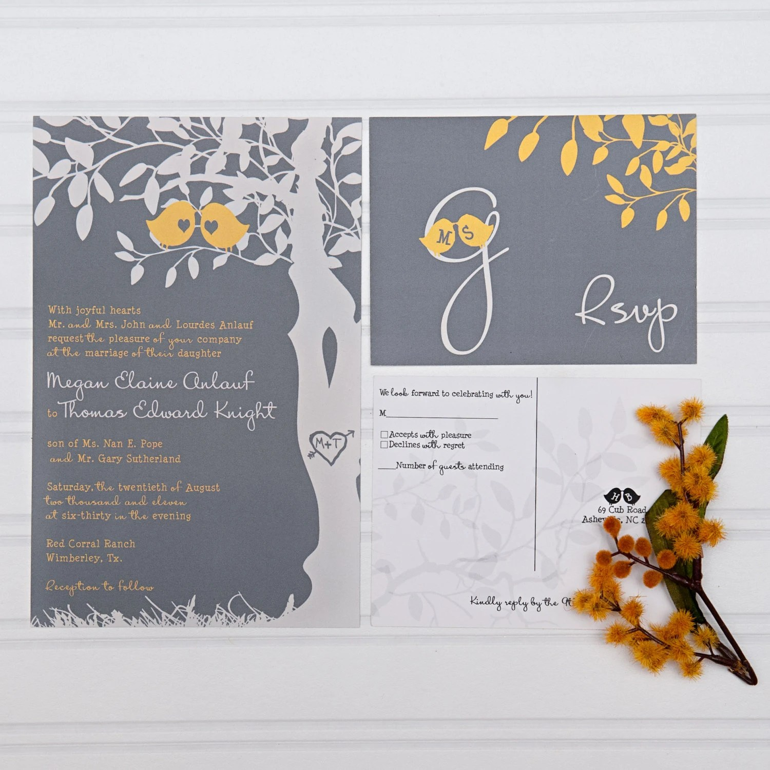 Yellow And Gray Wedding Invitations Love Birds In A Tree