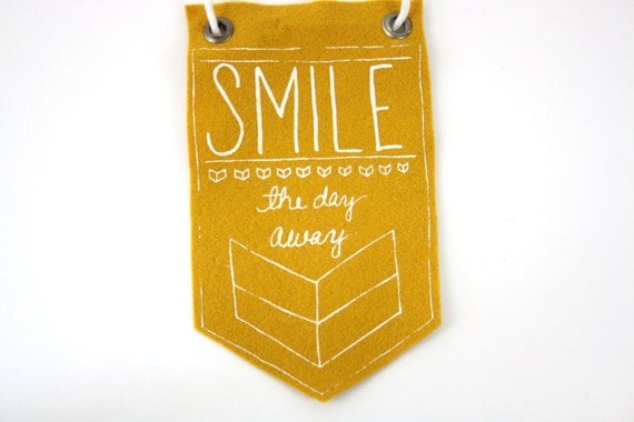 Mini-Banner wall hanging, Smile The Day Away, mustard yellow wool blend felt, screen print in white ink