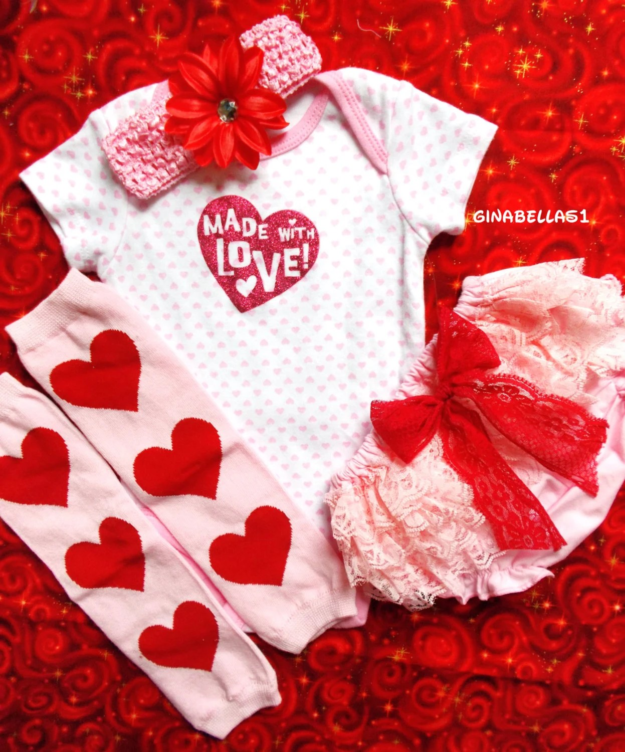 Valentines Day Baby Girl Onesie First Outfit Pink By GinaBellas1