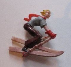 Vintage 1930s Celluloid Brooch Lady on Skis