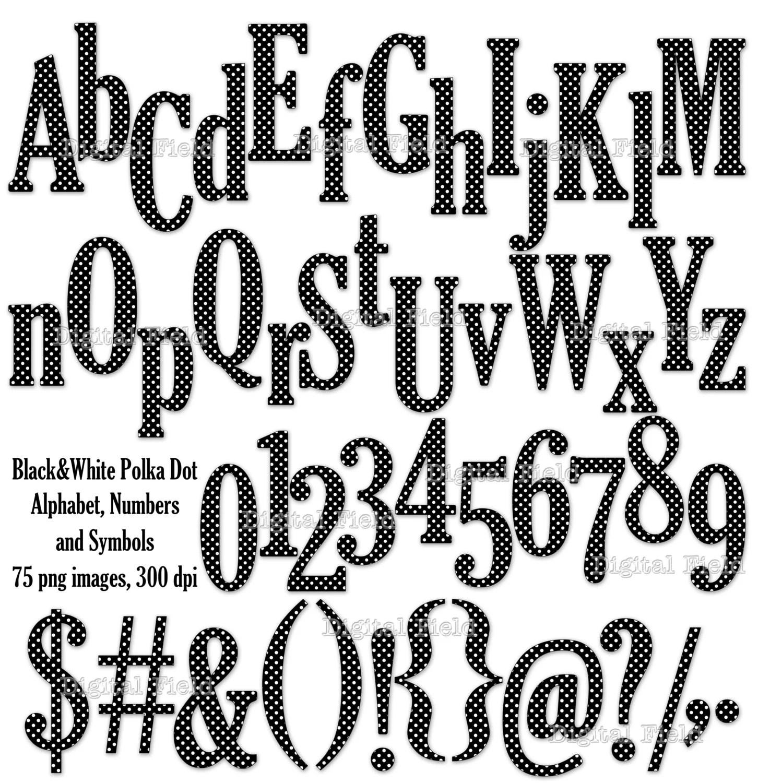 Black And White Polka Dot Alphabet Clip Art Set By