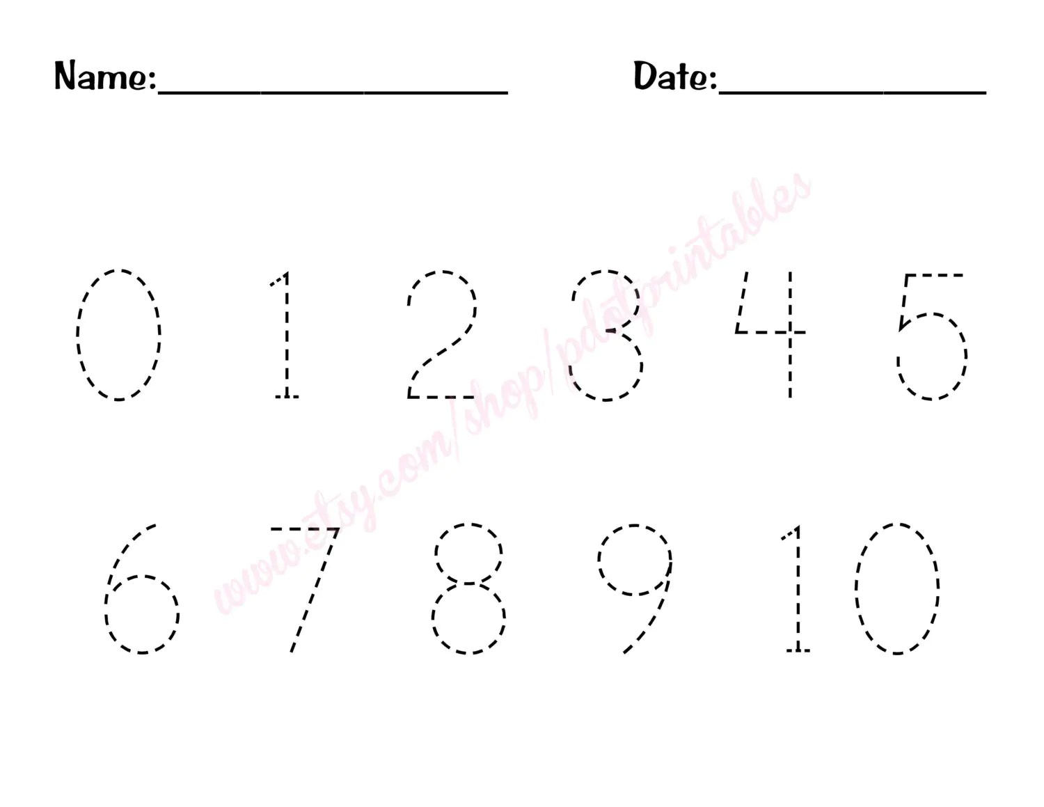 0 10 Number Trace Worksheet Printable By Pdotprintables