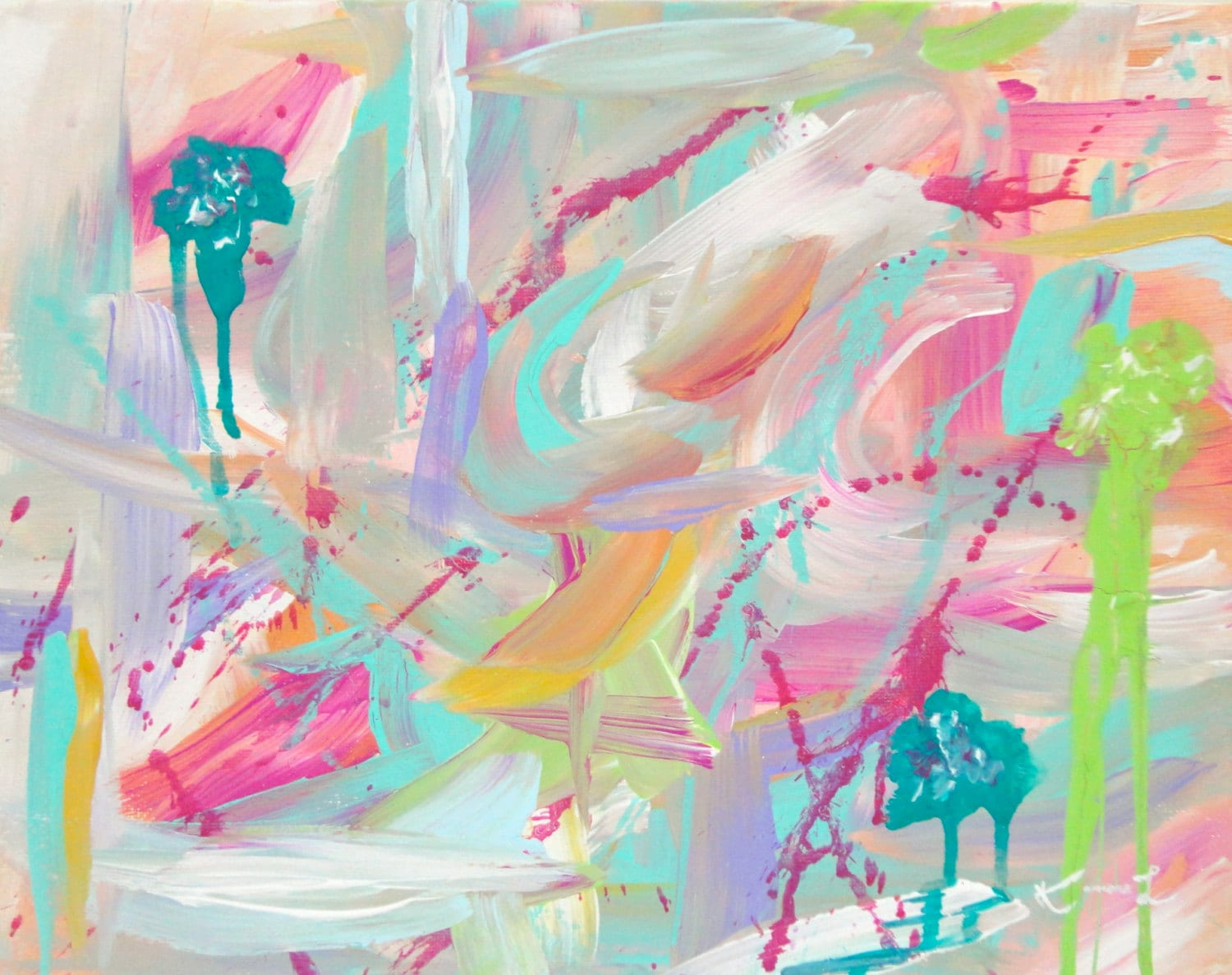 Smitten Pink Original Abstract Painting 11x14 Canvas