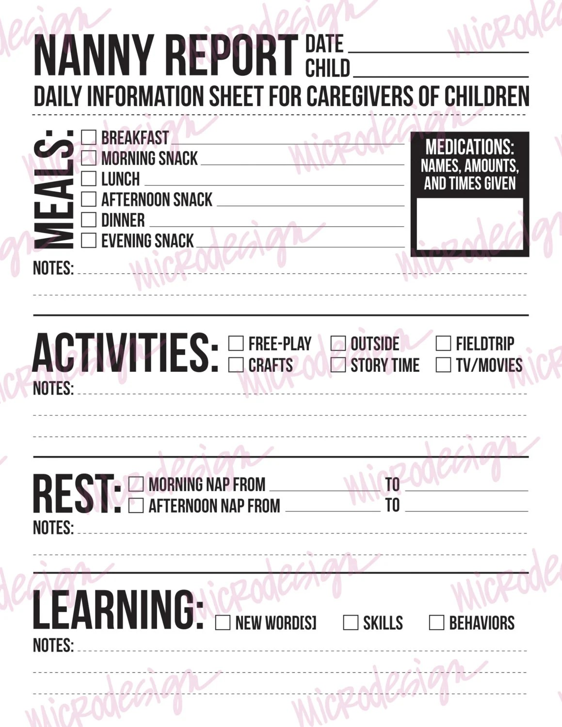 Nanny Report Daily Information Sheet For By Microdesign