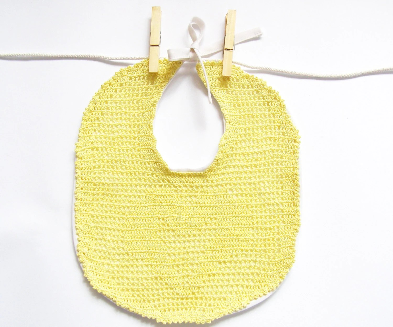 Baby Bib Crochet - Lace Cotton and Linen Baby Bib - Gift for Baby - Baby Shower Gift - Made to Order - Junikid